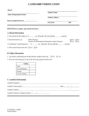 How to rent verification letter from llandlord form   Fill Out and