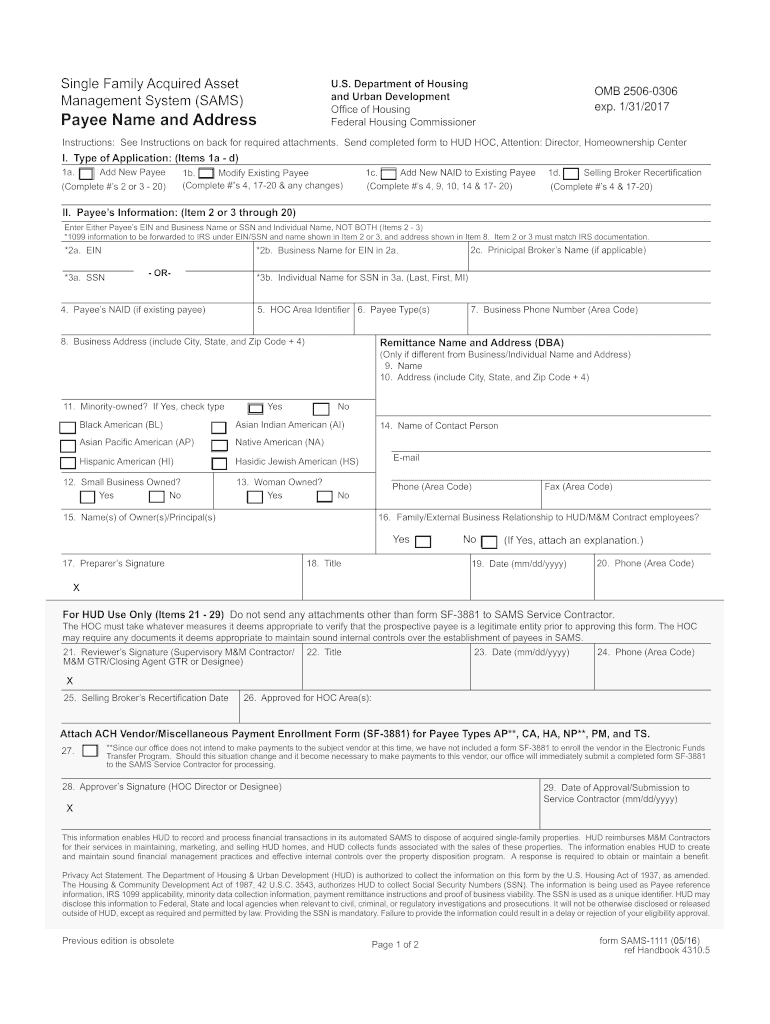 Sams 1111 Form Fill Out And Sign Printable Pdf Template Signnow