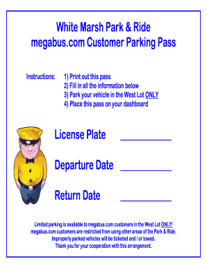 picture relating to Printable Parking Pass called Purchase And Indication White Marsh Park Trip Parking P Style