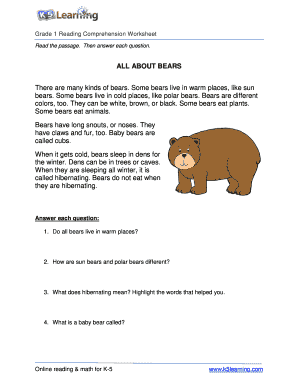 Reading comprehension worksheets grade 1 form - Fill Out and Sign ...