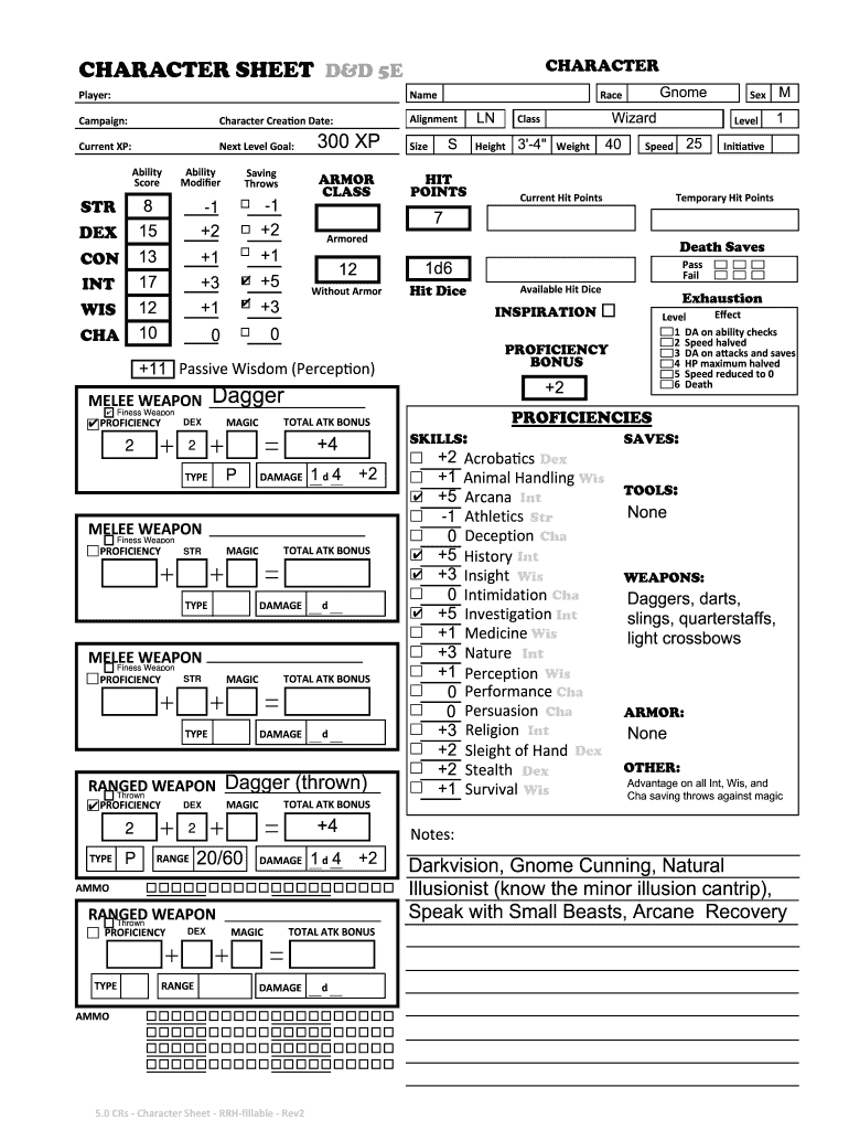 D D 5e Character Sheet Fillable Online Fill Out And Sign Printable Pdf Template Signnow