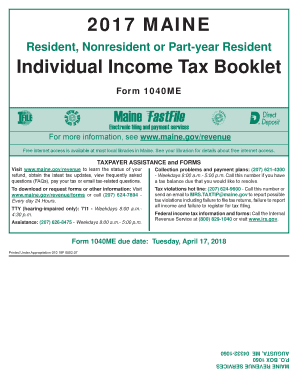 Get and Sign 2017 MAINE Individual Income Tax Booklet form