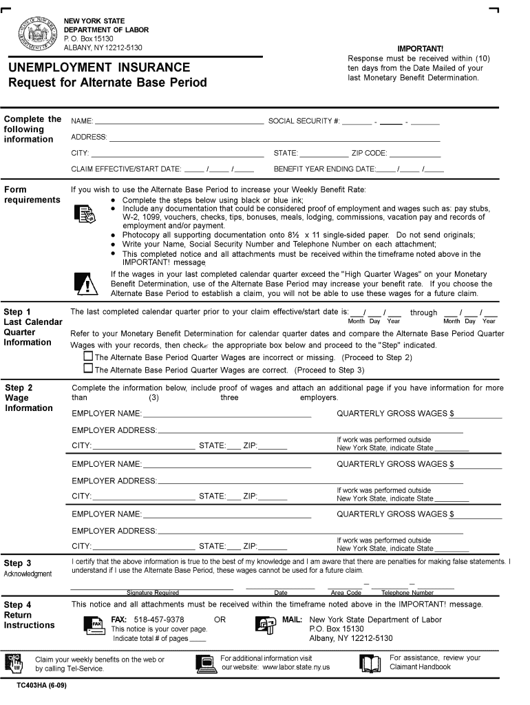 Get And Sign New York Unemployment Alternate Base Online  Form 2009-2021