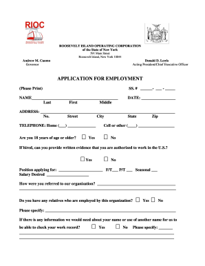 Application For Employment Rioc Ny Form Fill Out And