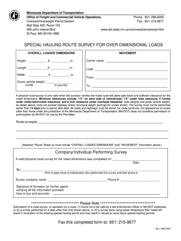 Get And Sign Physical Route Survey Form Minnesota Department Of Transportation Dot State Mn 2008-2021