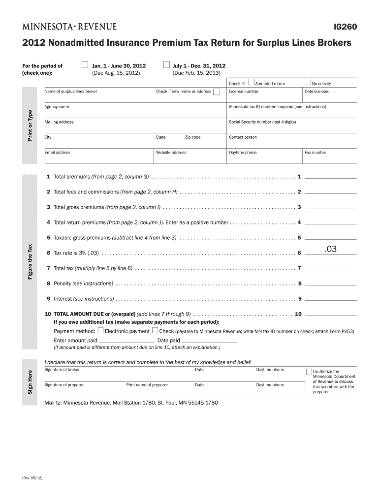 Get And Sign Minnesota Dept Of Revenue Tax Ig260 Form 2019-2021