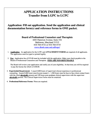 Maryland application lcpc form - Fill Out and Sign Printable