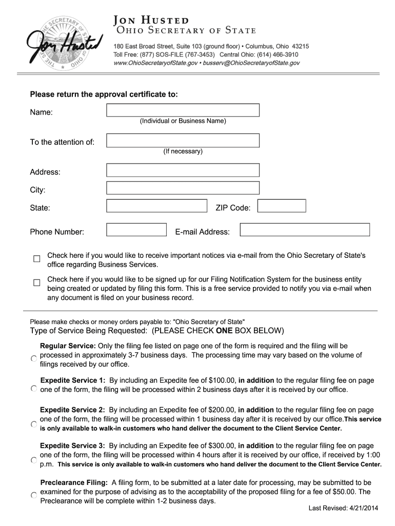 Get And Sign Trade Name Or Fictitious Name Registration Update  Sos State Oh 2013-2021 Form