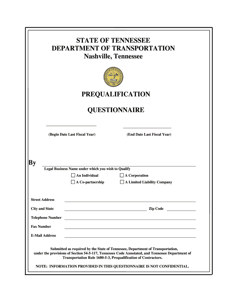 Get And Sign Tdot Prequalification Questionnaire Form