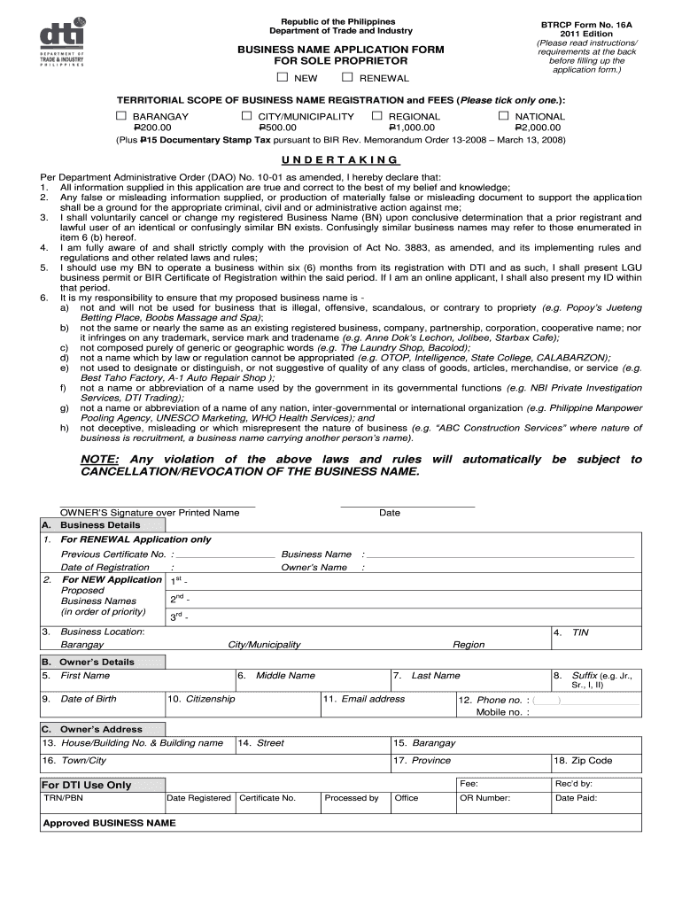 Get And Sign Btrcp Form 16a