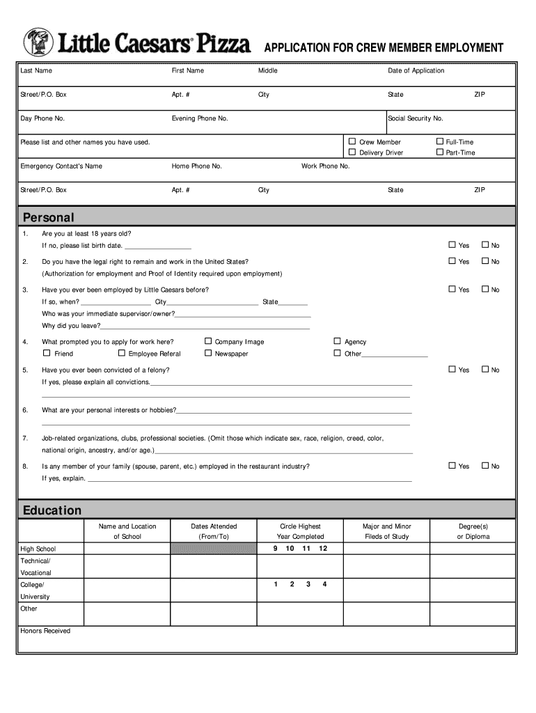 Little Caesars Application Online Fill Out And Sign Printable Pdf Template Signnow