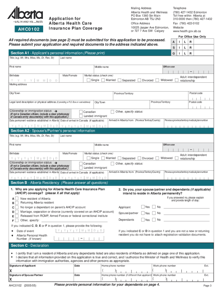 Alberta Health Care Card Application - Fill Out and Sign ...