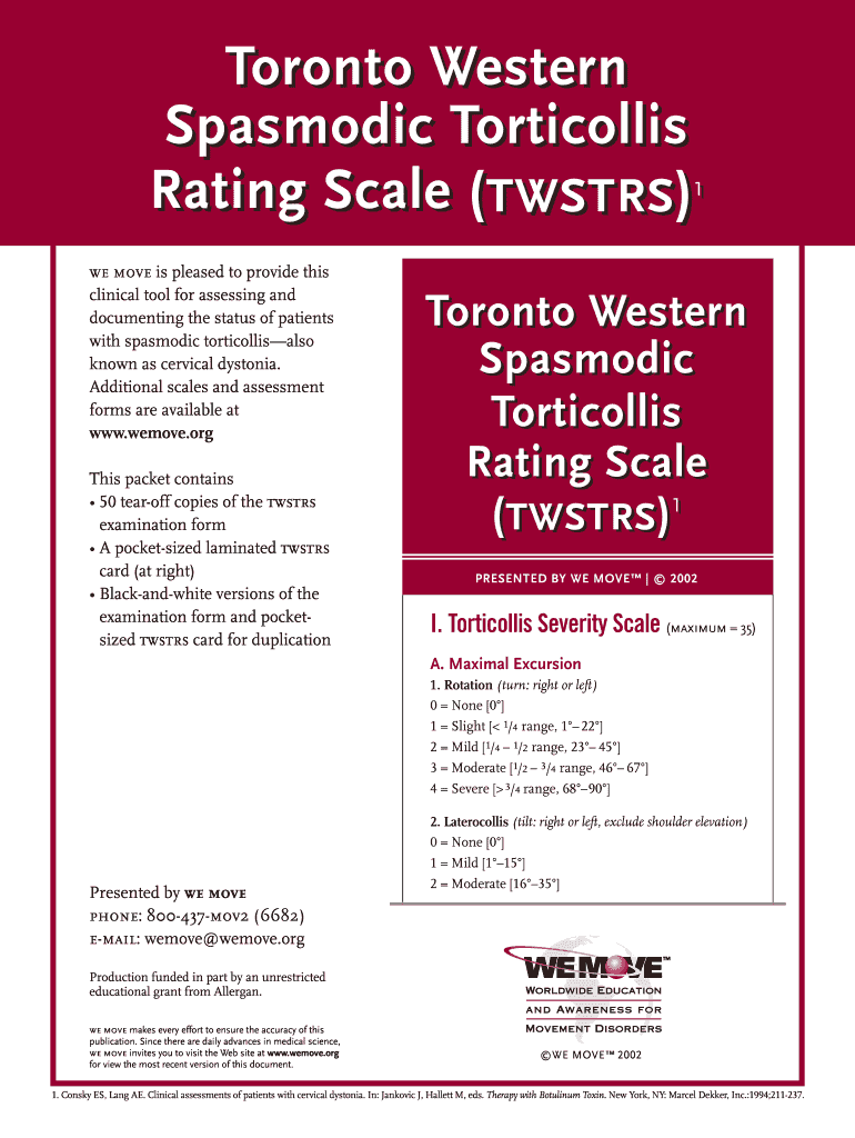 Get And Sign Toronto Western Spasmodic Torticollis Rating Scale Form