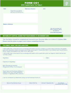 Get And Sign Form CG1 Capital Gains Tax Return For Revenue 2003-2021