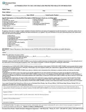 Cleveland clinic florida authorization to use and disclose protected