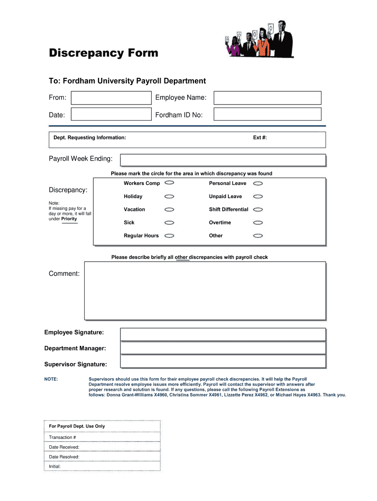 Get And Sign Payroll Discrepancy Form