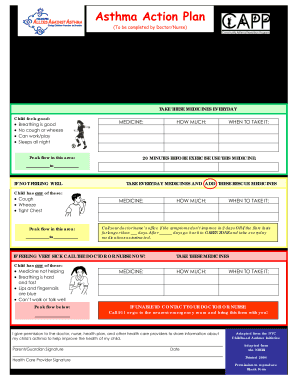 Asthma Action Plan | Asthma Action Plan Word Format Signnow Fill Out And Sign
