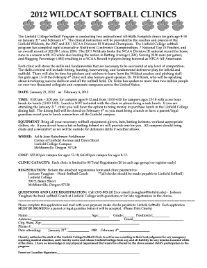 Get And Sign Linfield College Softball Clinic Form 2012-2021