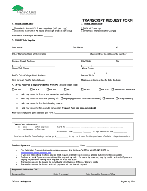 Get And Sign Pacific Oaks College Transcripts 2011-2021 Form