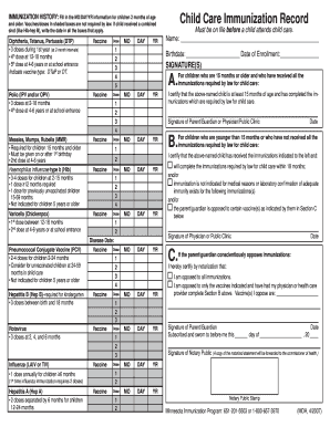 image regarding Printable Immunization Record named Mn little one treatment immunization background sort - Fill Out and Signal