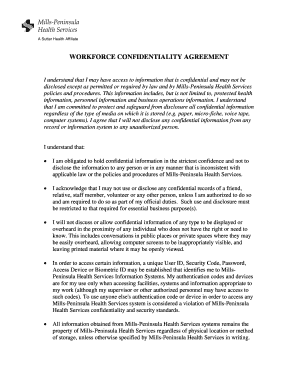 Workforce Confidentiality Agreement Form Samuel Merritt