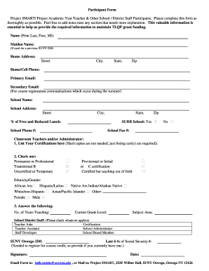 Project blend suny oswego form - Fill Out and Sign Printable