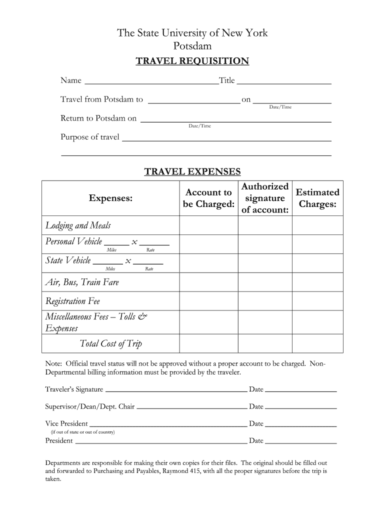 Get And Sign Travel Requisition Form