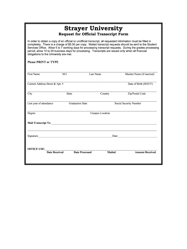Get And Sign Strayer University Transcript Request Form