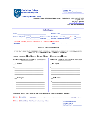 Cambridge college online transcript request form - Fill Out and Sign