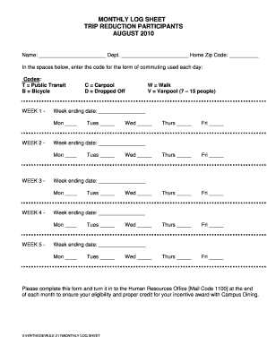 Get And Sign Monthly Log Sheet 2010-2021 Form
