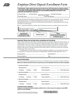 Adp direct deposit enrollment form - Fill Out and Sign Printable PDF
