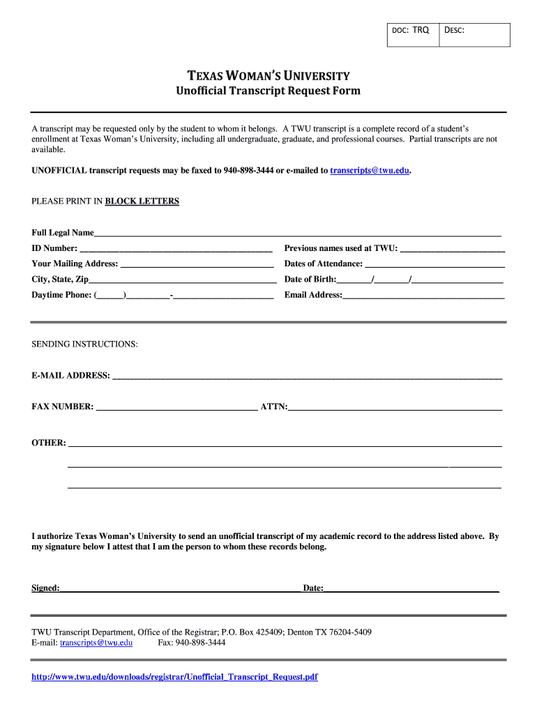 Get And Sign Texas Unofficial Transcript Form