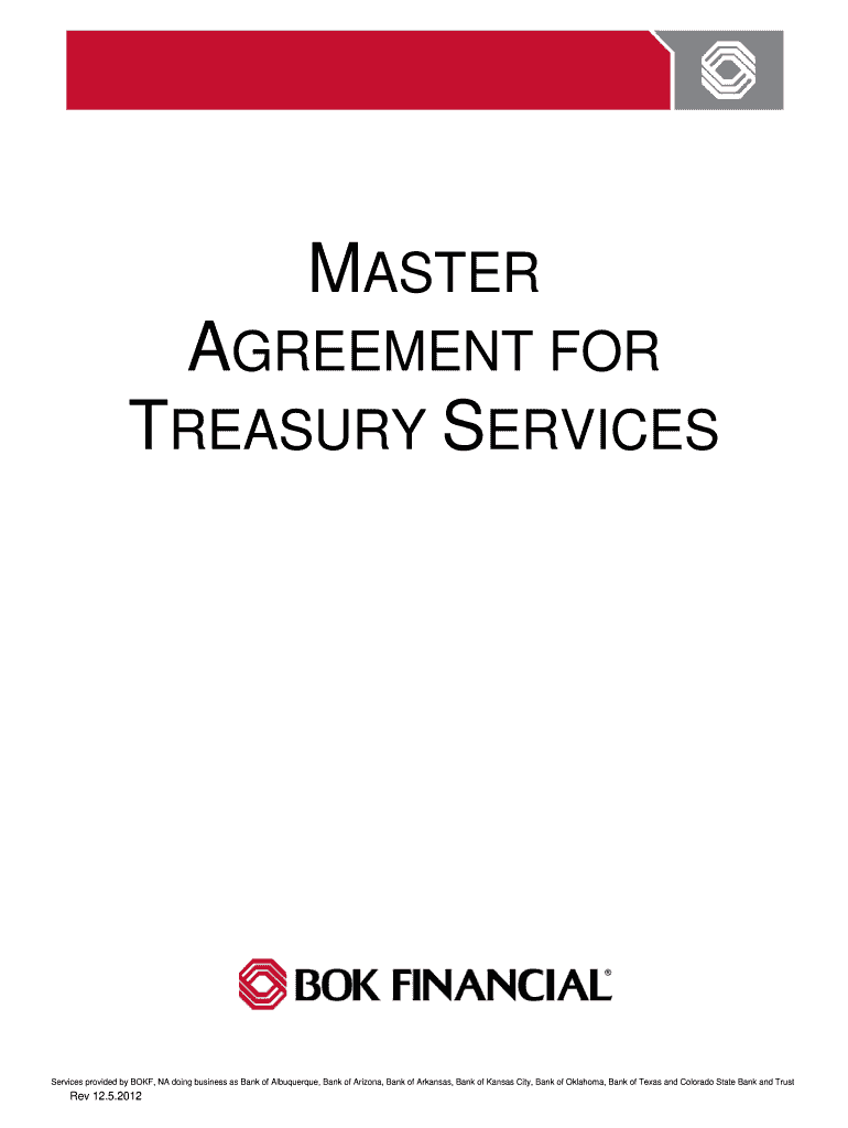 Get And Sign Master Agreement For Treasury Services University Of Houston Uh 2012-2021 Form