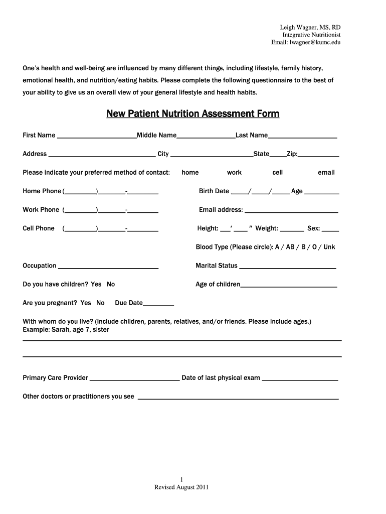 Nutrition Assessment Form Fill Out And Sign Printable Pdf Template Signnow