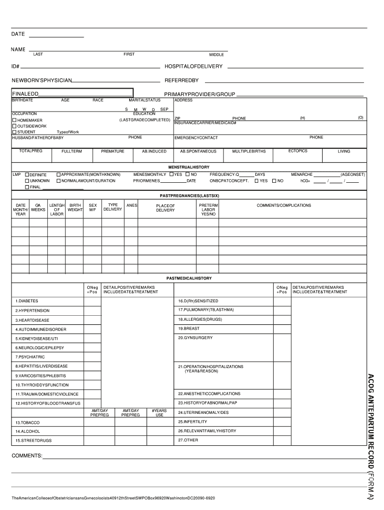 Get And Sign Acog Flow Sheet Pdf Printable Form