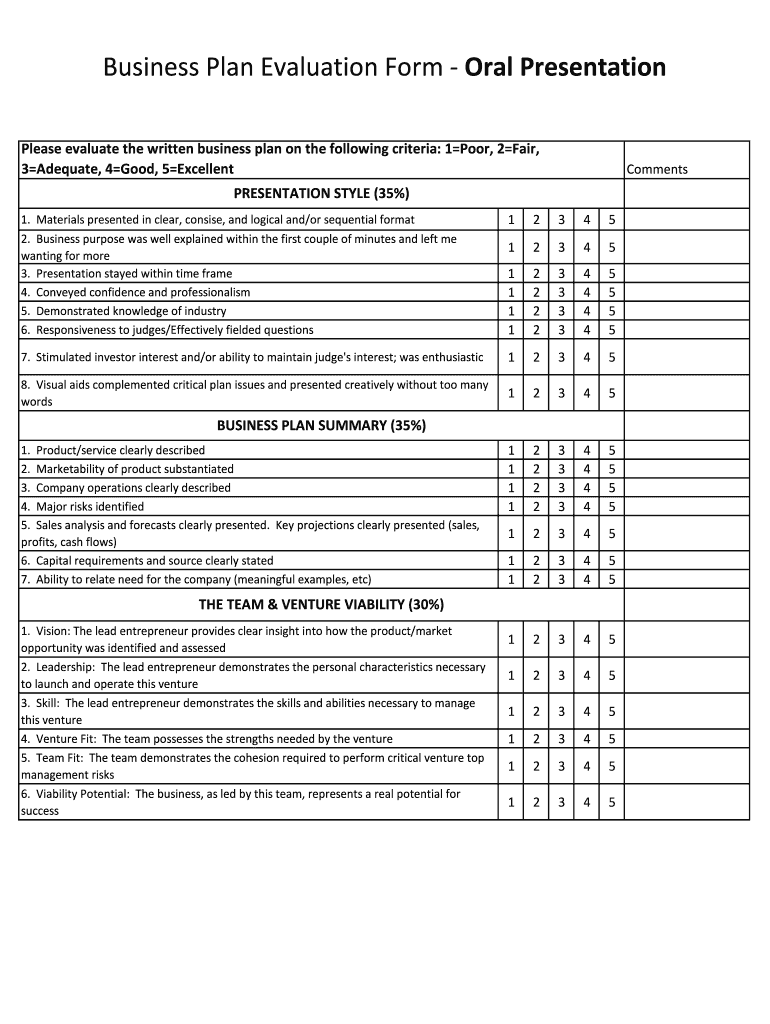 Presentation Evaluation Fill Out And Sign Printable Pdf Template Signnow