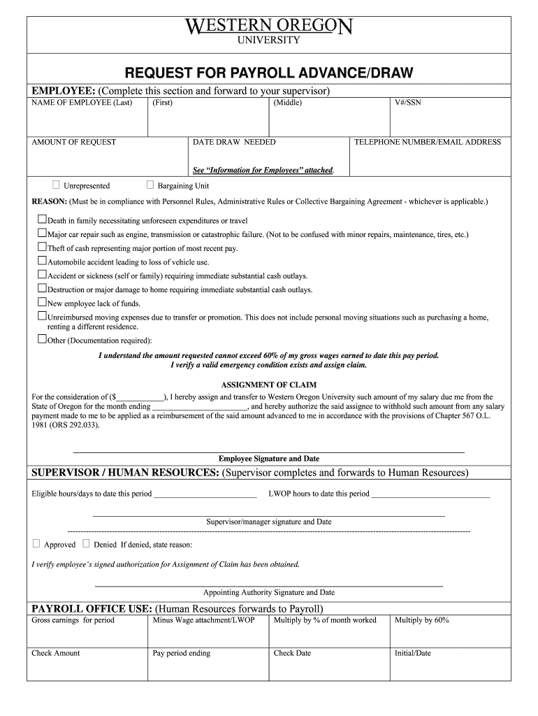 Get And Sign Payroll Advance Form pdf  Western Oregon University  Wou