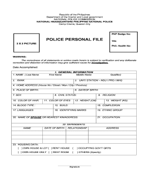 Pnp pds form - Fill Out and Sign Printable PDF Template