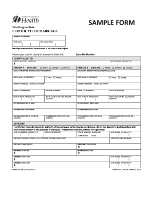 graphic regarding Printable Marriage Licenses called Pattern of washing region romance license type - Fill Out and
