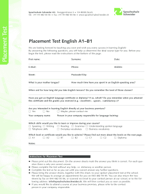 English placement test printable form - Fill Out and Sign