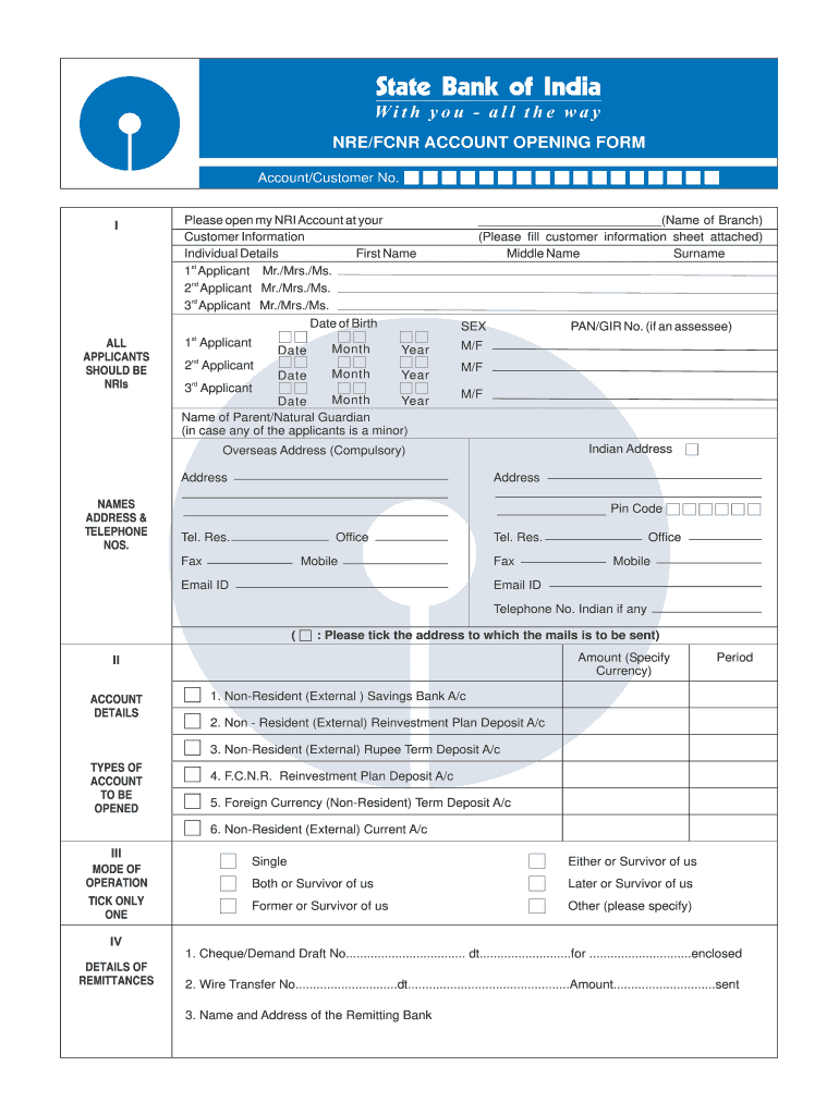 sbi online account form 2014