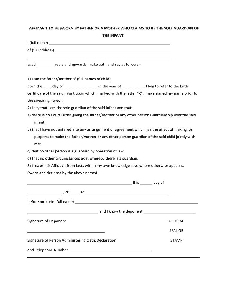 Get And Sign Affidavit Of Guardianship 2012-2021 Form