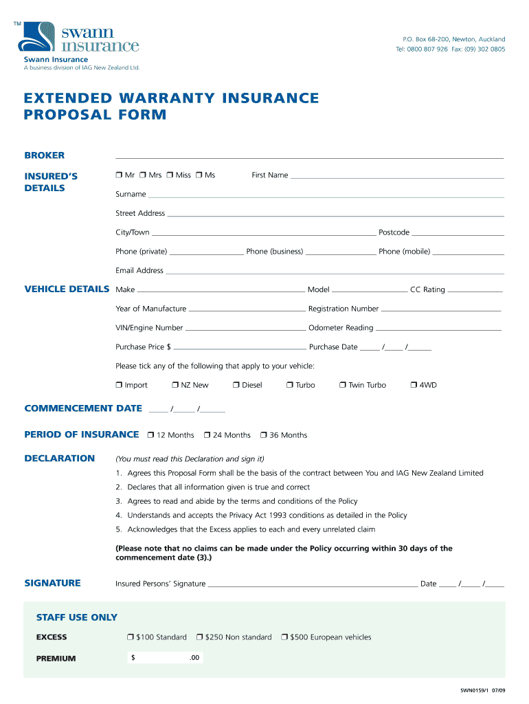 Get And Sign Proposal To Client For Extended Warranty 2009-2021 Form