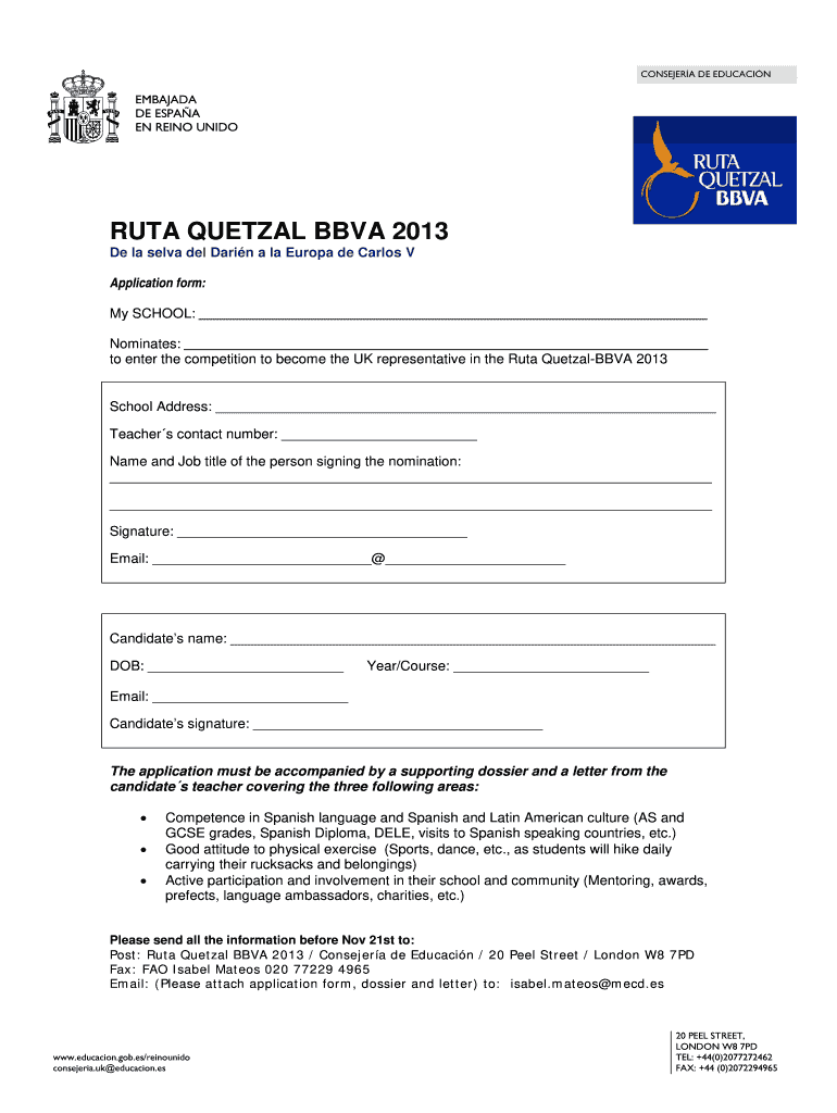 Get And Sign RUTA QUETZAL BBVA 2013-2021 Form