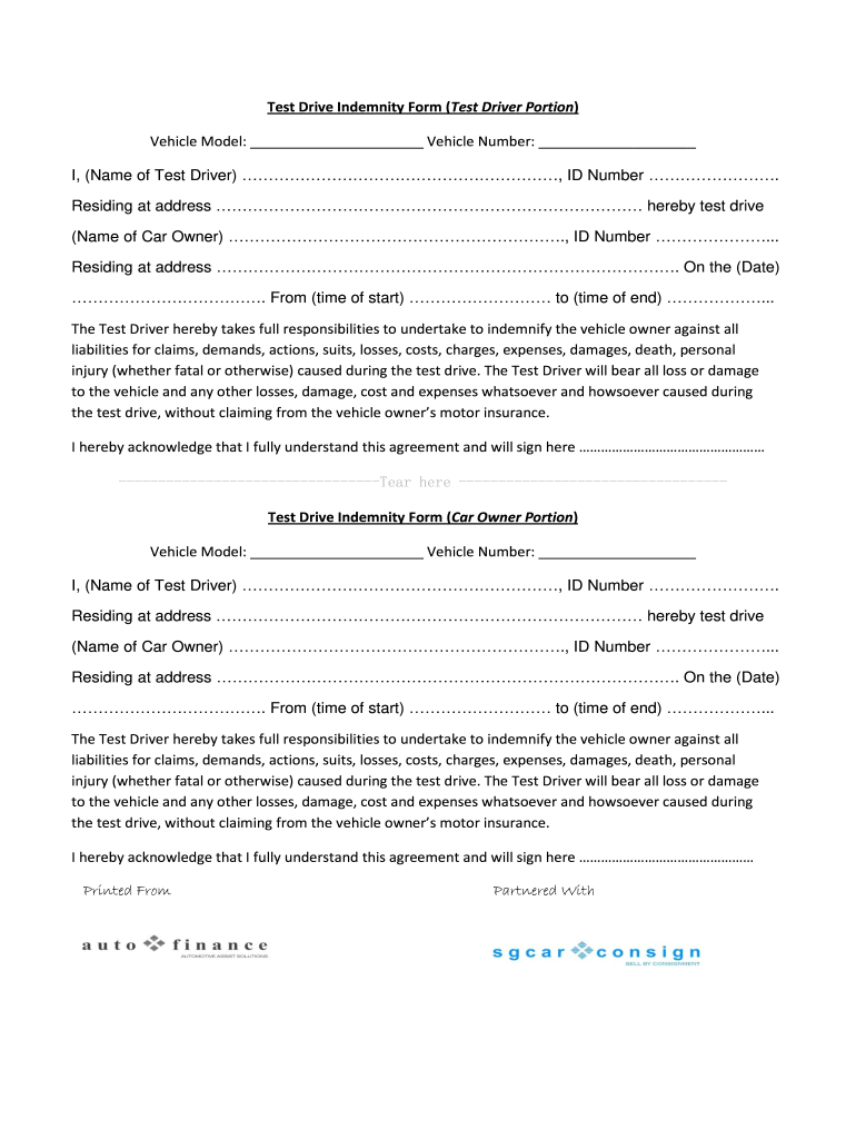 Get And Sign Test Drive Agreement Form