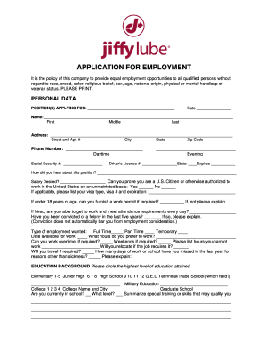 Job Application Online >> Jiffy Lube Job Application Online Form Fill Out And Sign Printable