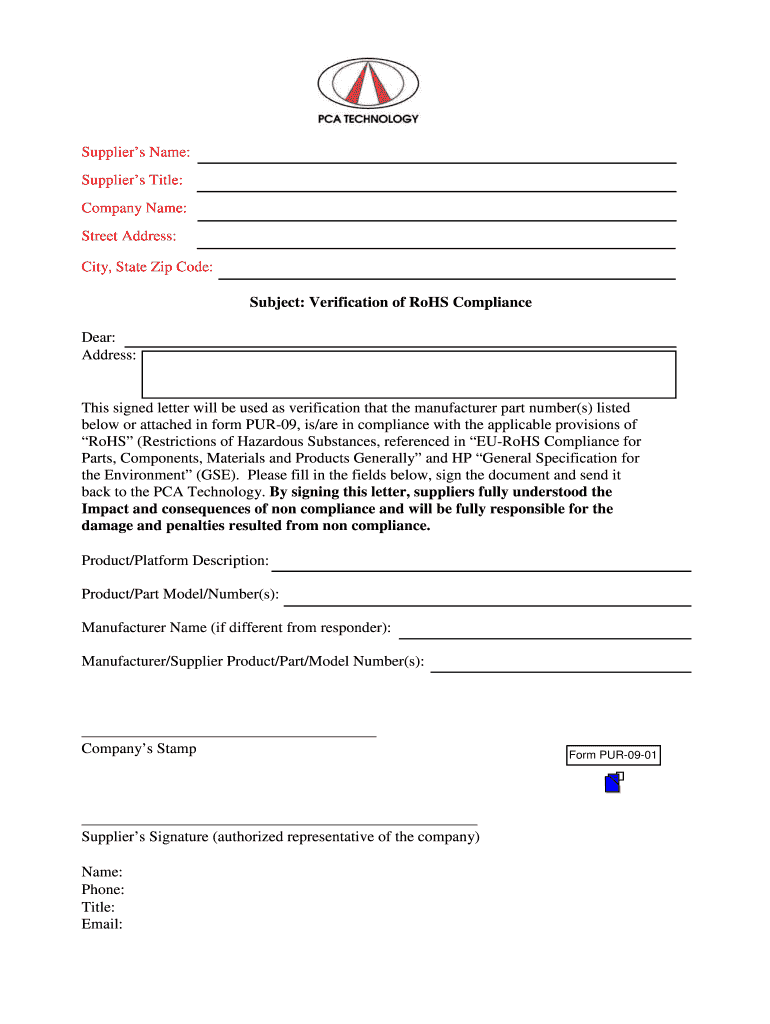 Get And Sign Rohs Form
