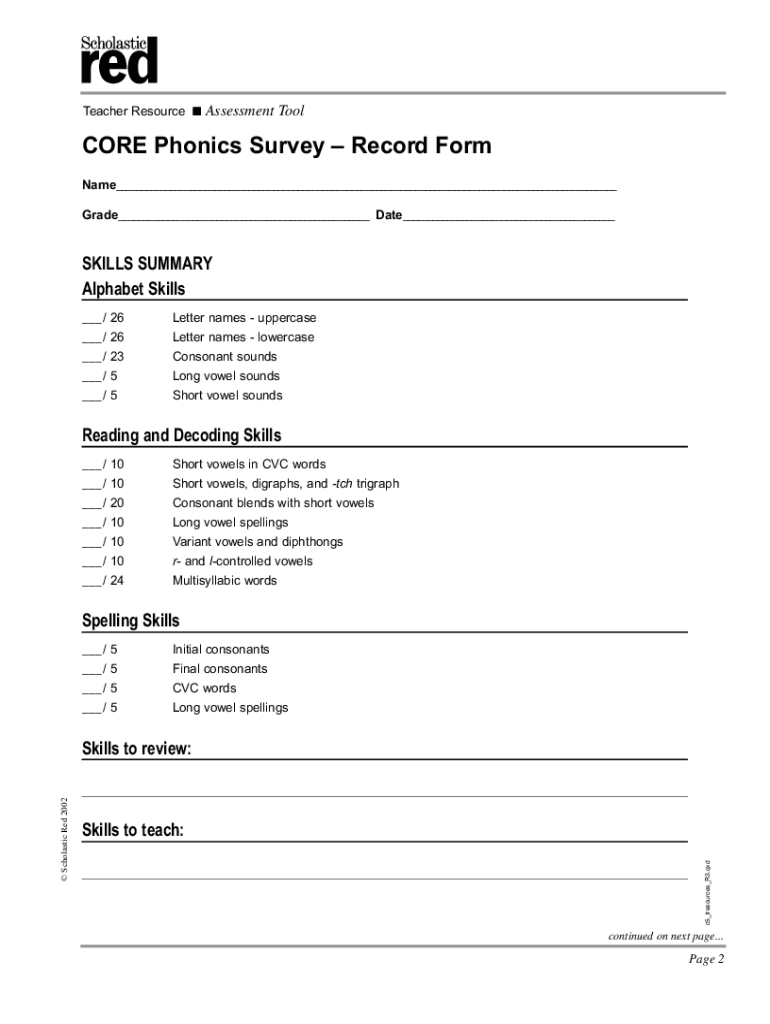 Get And Sign Core Phonics Survey Digital Form