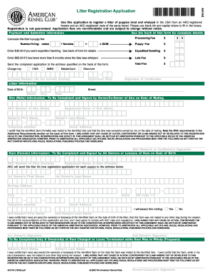 Akc litter registration application form - Fill Out and Sign
