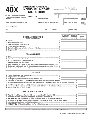 State of oregon tax forms 40x - Fill Out and Sign Printable